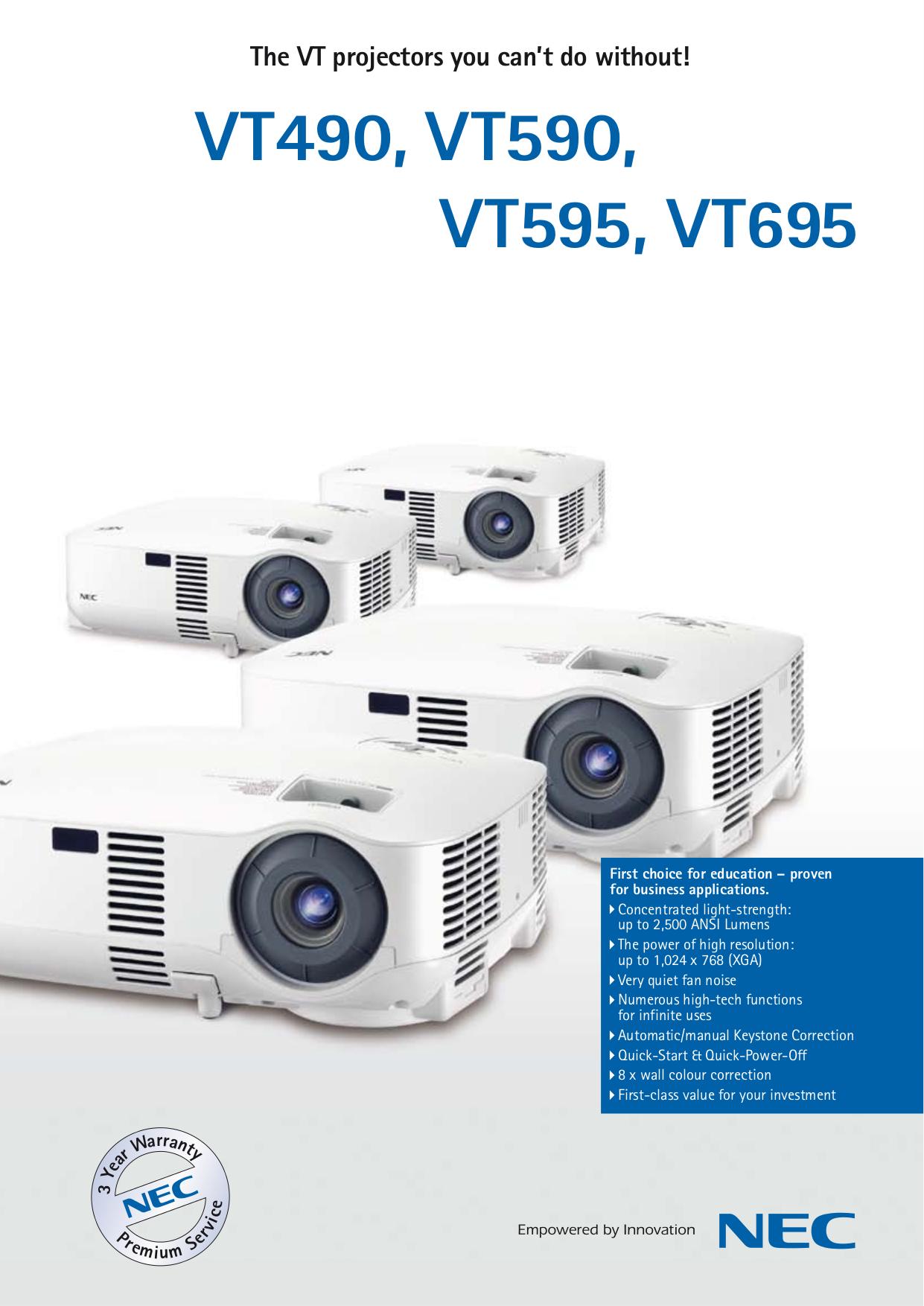 nec vt695 manual product user guide instruction u2022 rh testdpc co NEC VT695 Specs NEC VT695 Lamp
