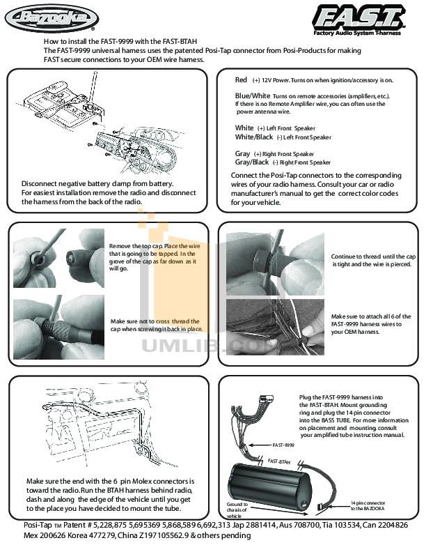 pdf for Bazooka Speaker MBT8014 manual