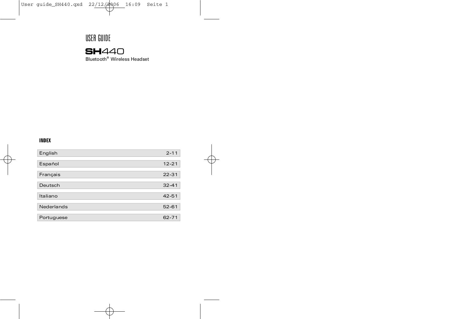 pdf for SouthWing Headset SH-440 manual