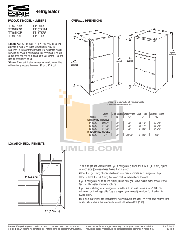 pdf for Estate Refrigerator TT18TKRM manual
