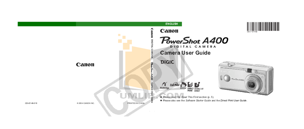 pdf for Canon Digital Camera Powershot A400 manual