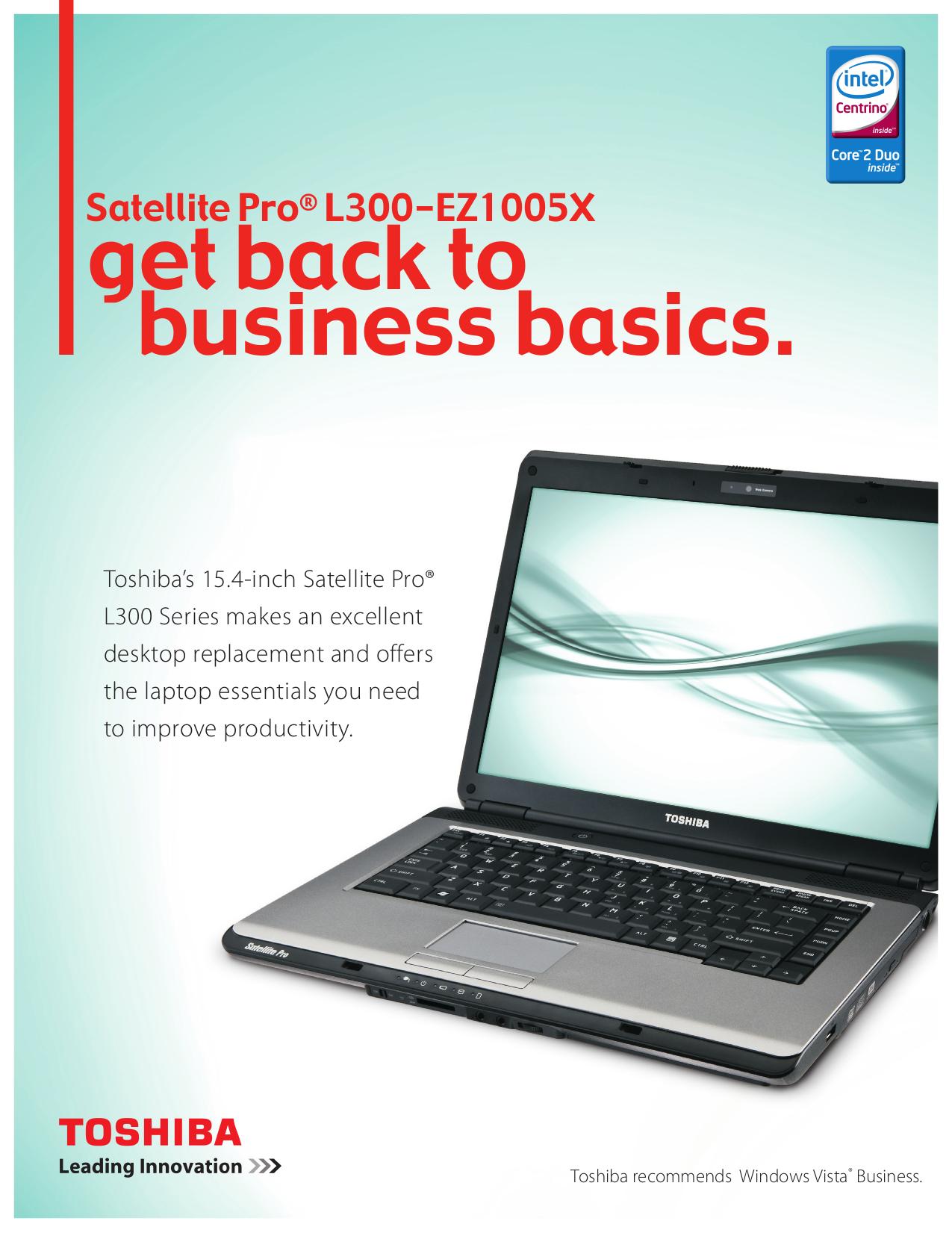 download free pdf for toshiba satellite pro l300 ez1005x laptop manual rh umlib com Toshiba Laptop Accessories Toshiba E310