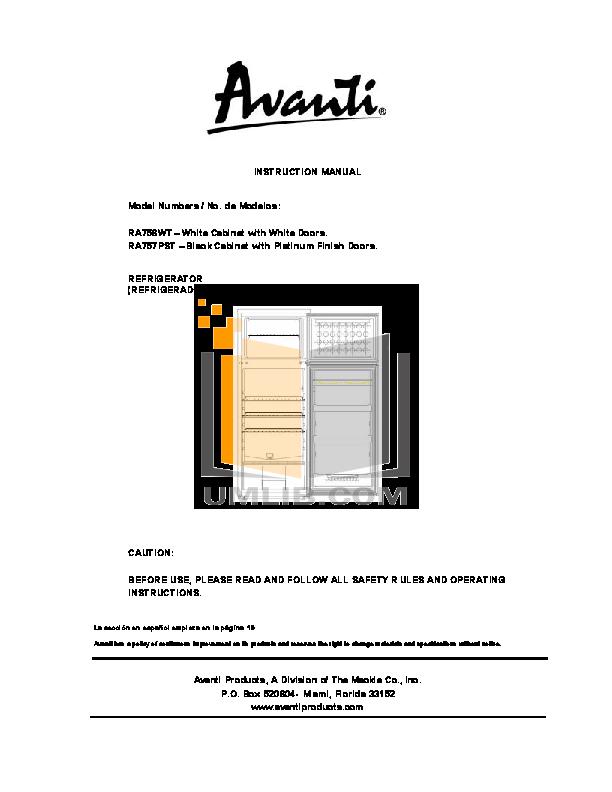 pdf for Avanti Refrigerator RA756WT manual