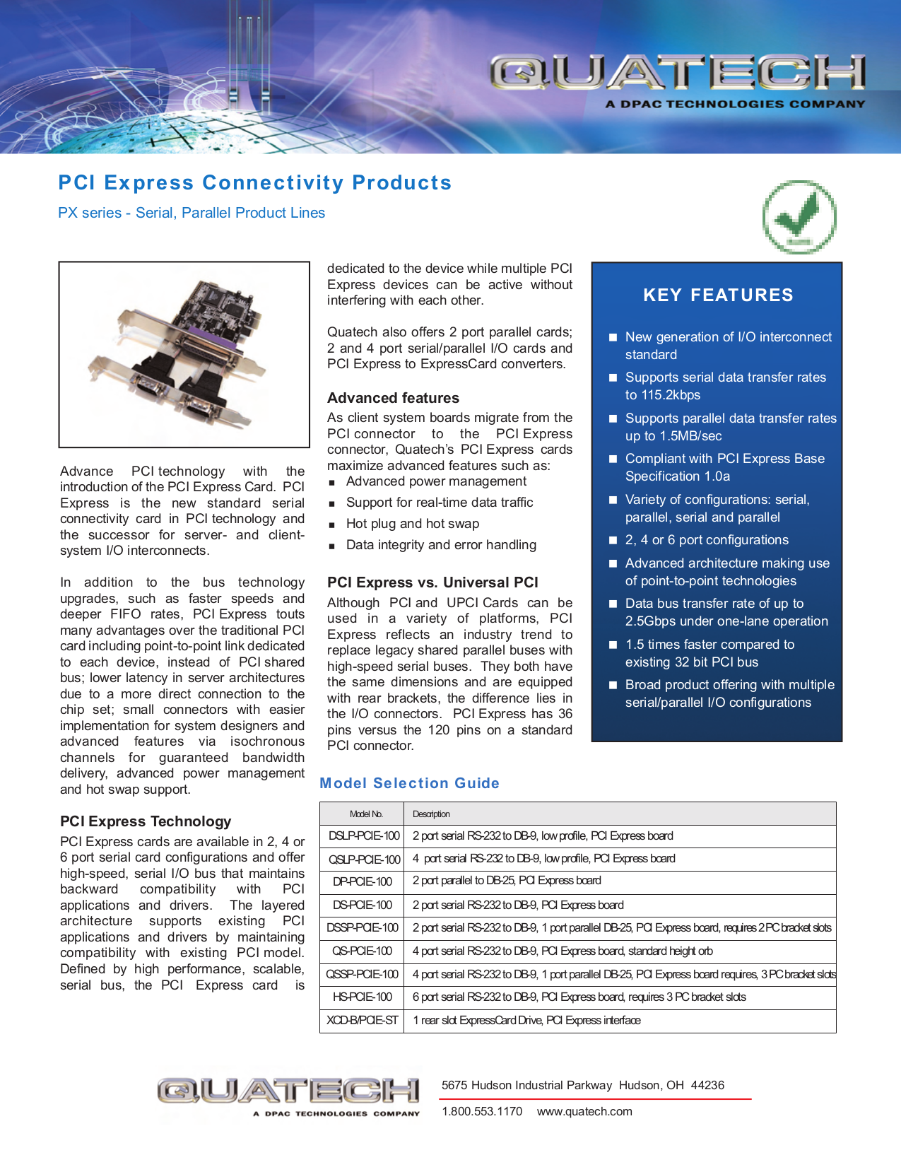 pdf for Quatech Other QS-PCI-100 PCI Serial Boards manual