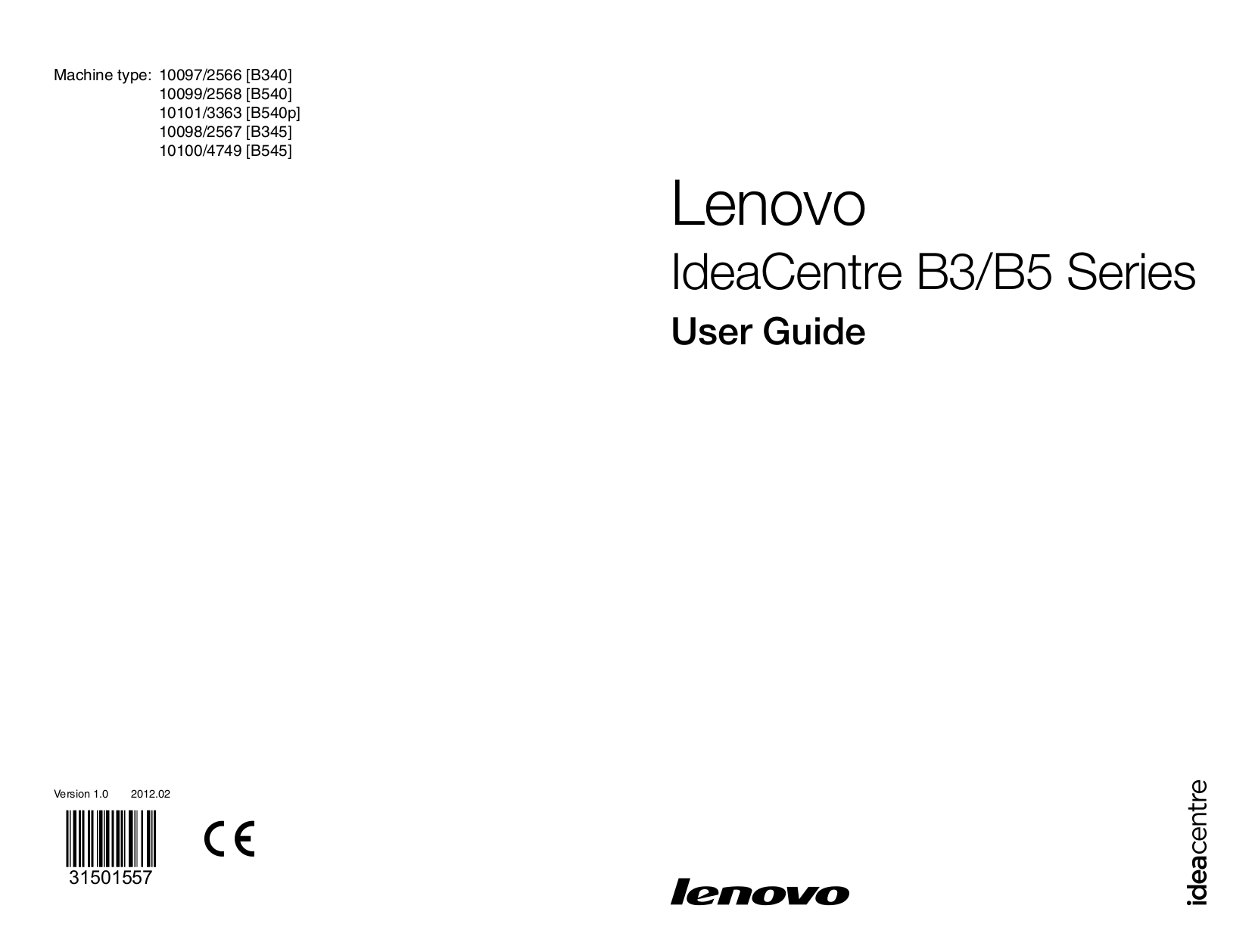 pdf for Lenovo Desktop IdeaCentre B320 7760 manual