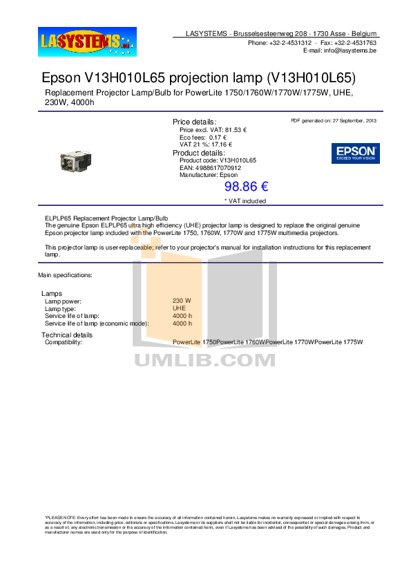 pdf for Epson Projector PowerLite 1760W manual