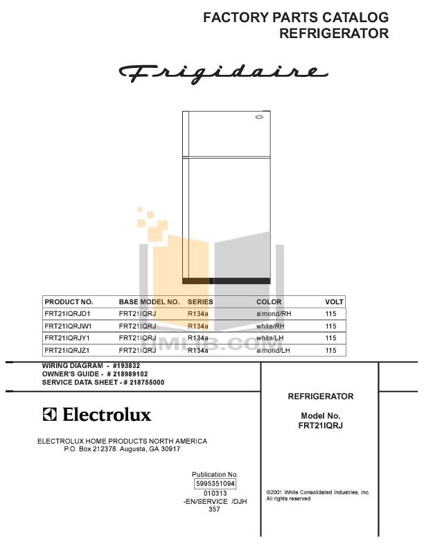 pdf for Frigidaire Refrigerator FRT21IQRJZ1 manual