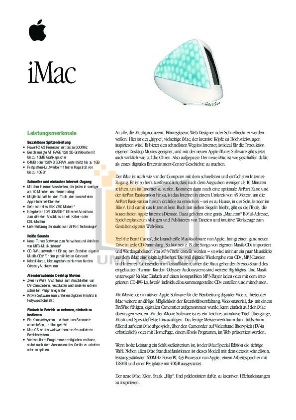 pdf for Apple Desktop iMac G3 M7679 manual