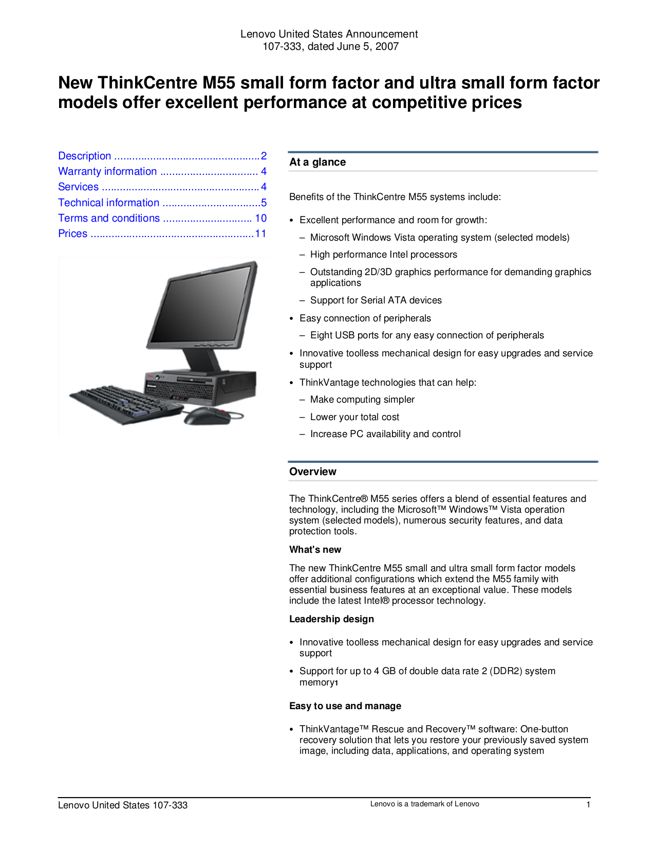 pdf for Lenovo Desktop ThinkCentre M55 8807 manual