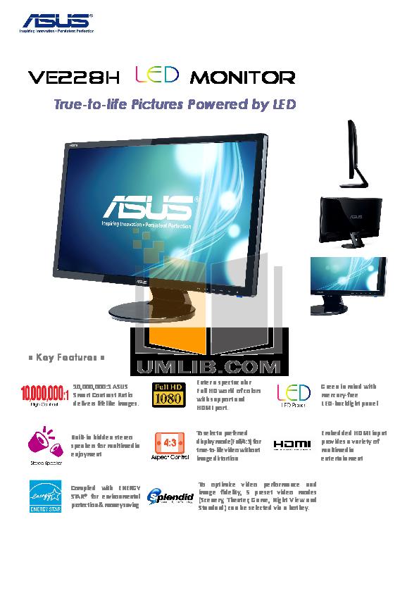 pdf for Asus Monitor VE228H manual