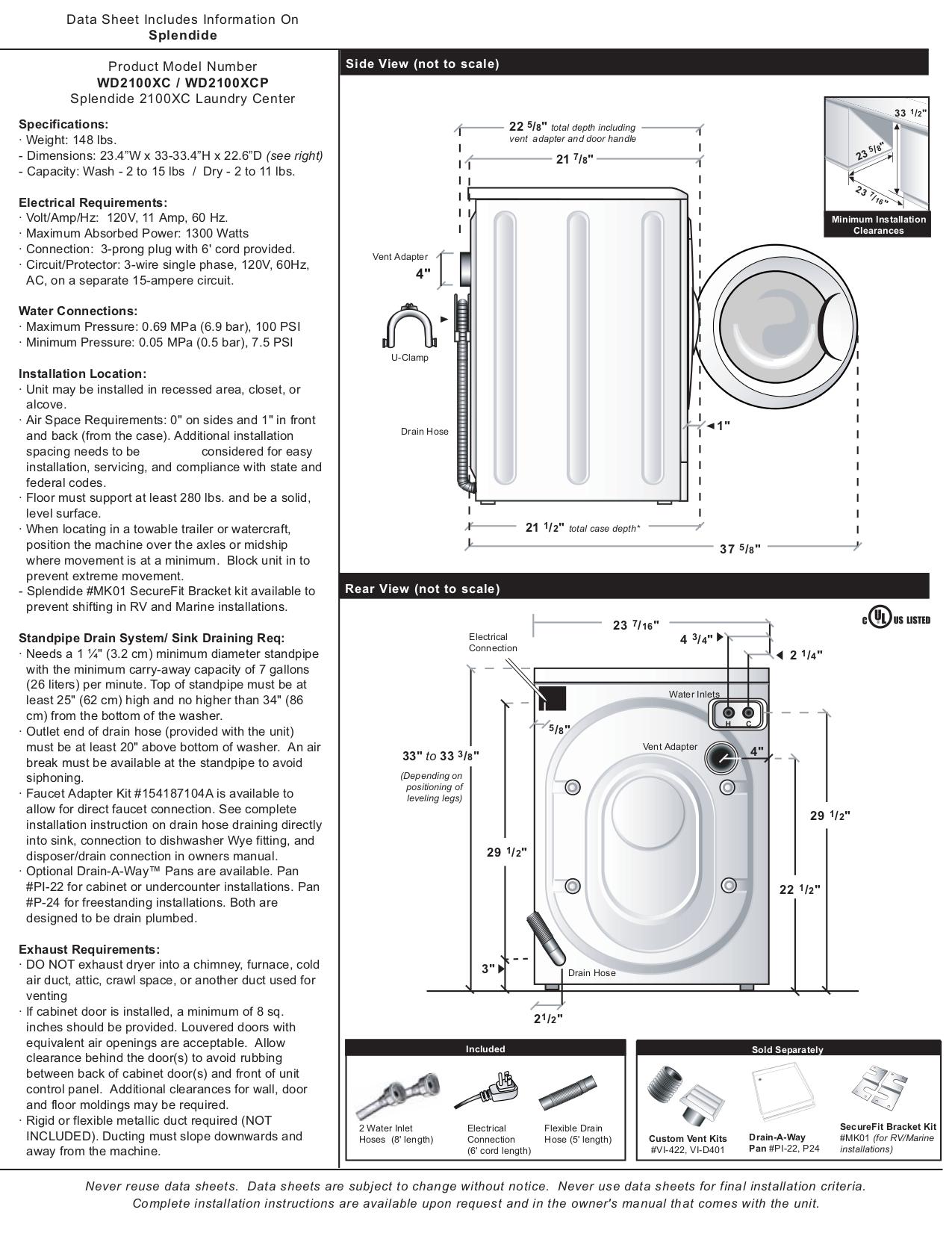 download free pdf for splendide 2100 washer dryers combo other manual rh umlib com splendide 2100 repair manual splendide 2100 owner's manual