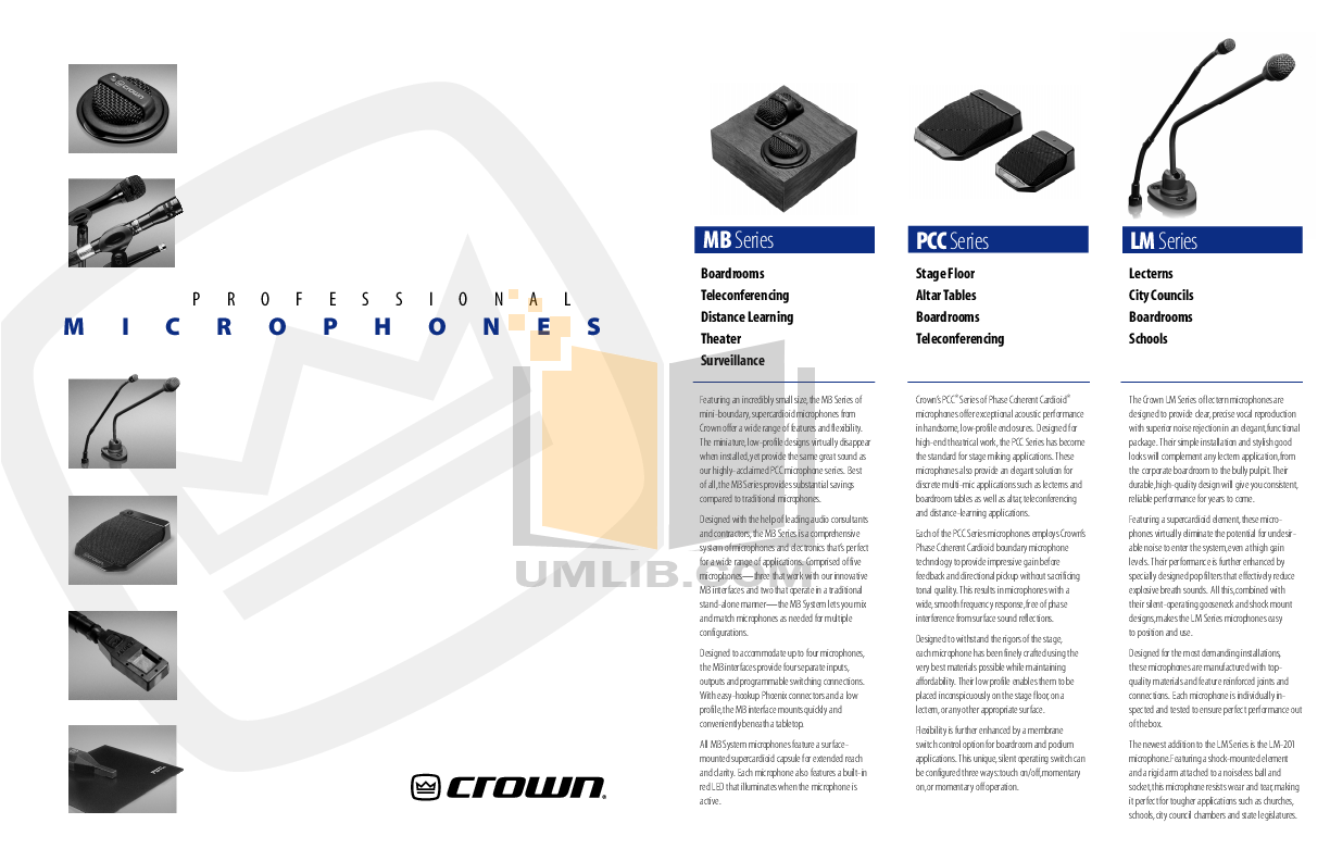 Crown Other PCC-170W Microphones pdf page preview