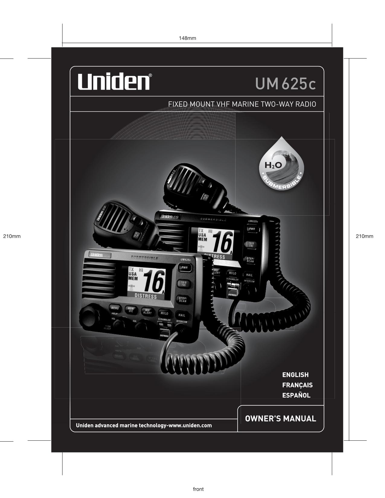 pdf for Uniden 2-way Radio UM625C manual