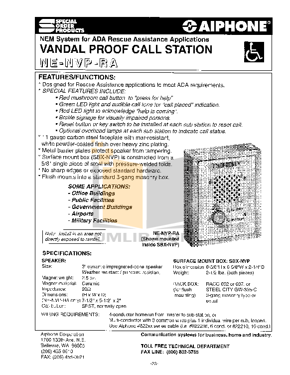 pdf for Aiphone Other NB-U Intercoms-Accessory manual