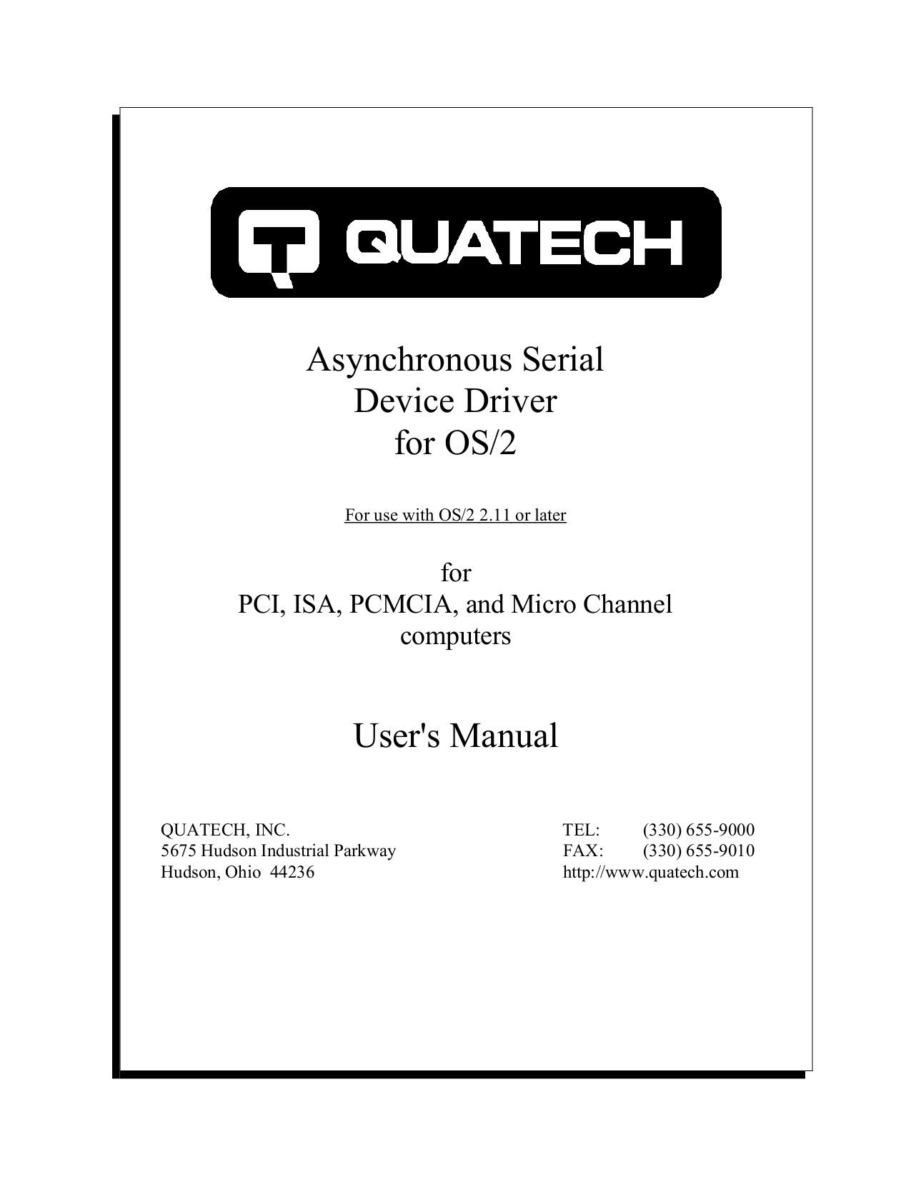 pdf for Quatech Other QSCLP-300 PCI Serial Boards manual
