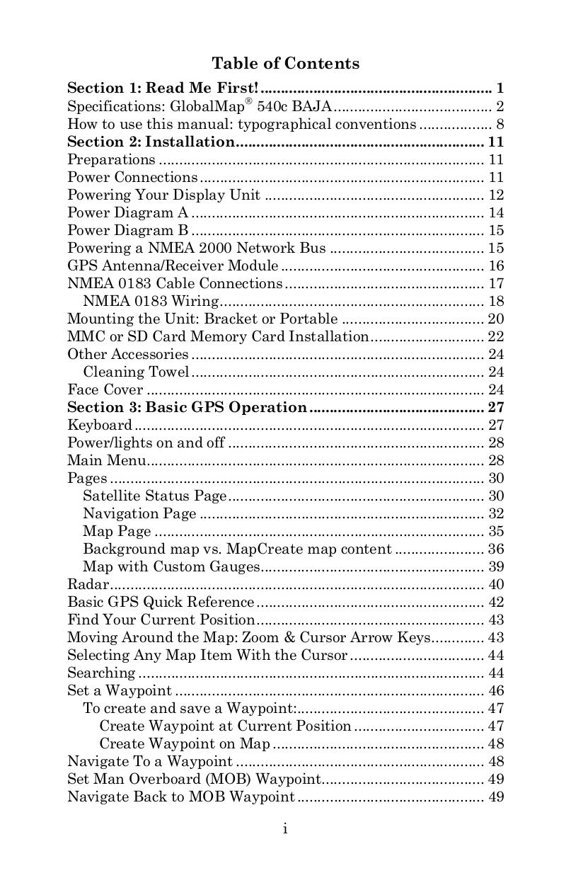 Lowrance GPS GlobalMap 540c BAJA pdf page preview