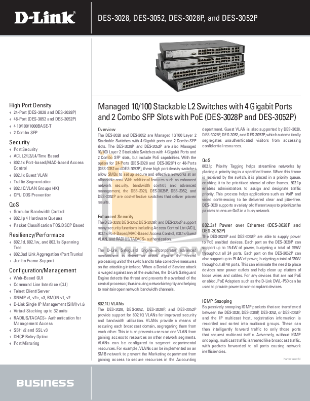 Download free pdf for D-link DES-3052P Switch manual