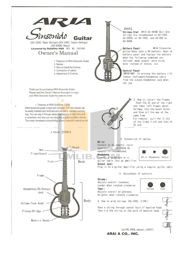 pdf for Aria Guitar AS-100C manual