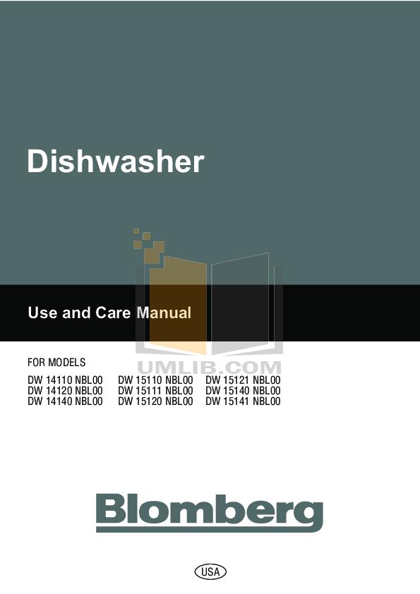 pdf for Blomberg Dishwasher DW15120 manual