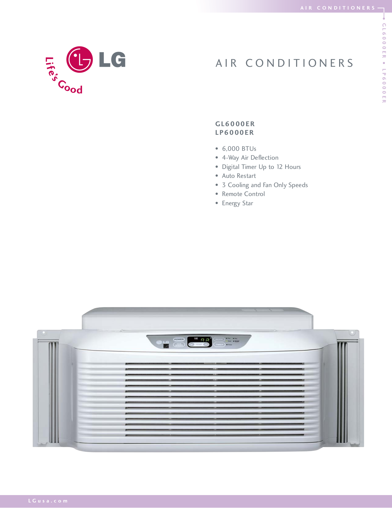Download free pdf for LG GL6000ER Air Conditioner manual