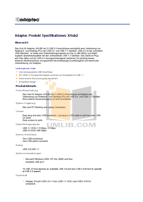 pdf for Adaptec Hub XHub2 manual