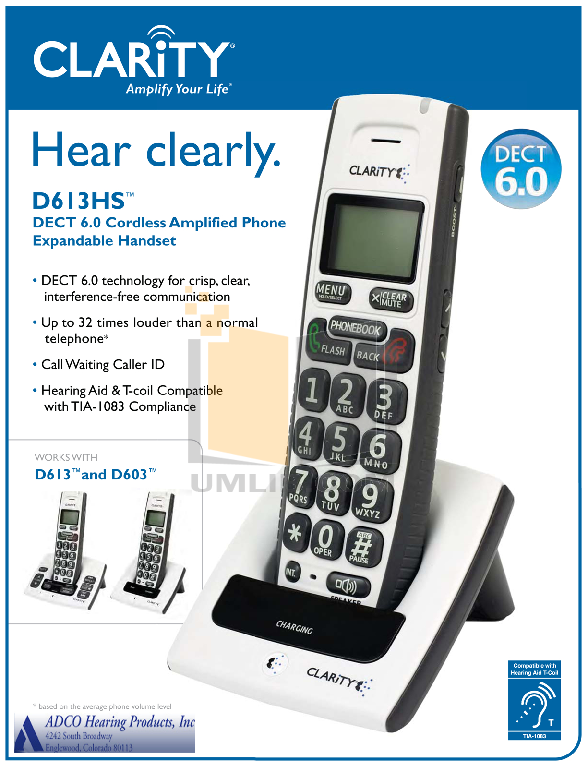 pdf for Clarity Telephone D603 manual