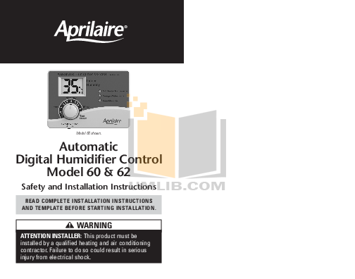pdf for Aprilaire Humidifier 500 manual
