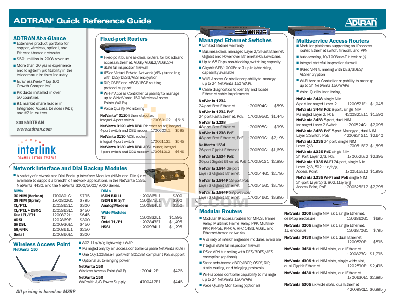 pdf for ADTRAN Switch NetVanta 1544F manual