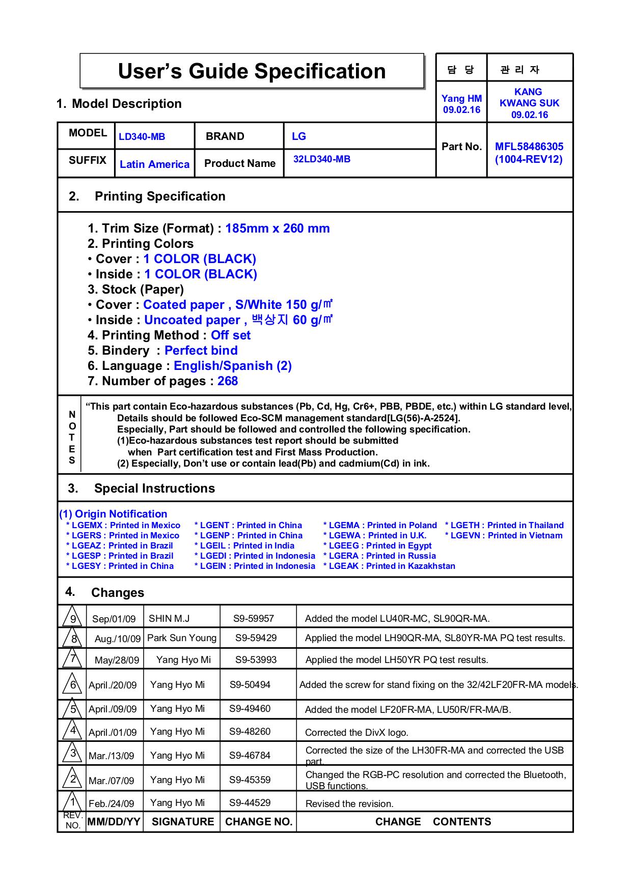 pdf for LG TV 32LD330 manual