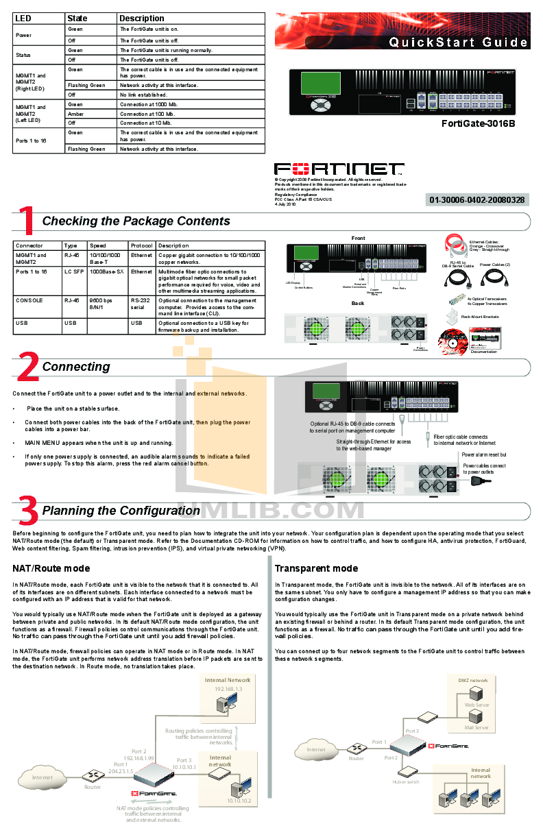 pdf for Fortinet Router FortiGate FortiGate-3016B manual