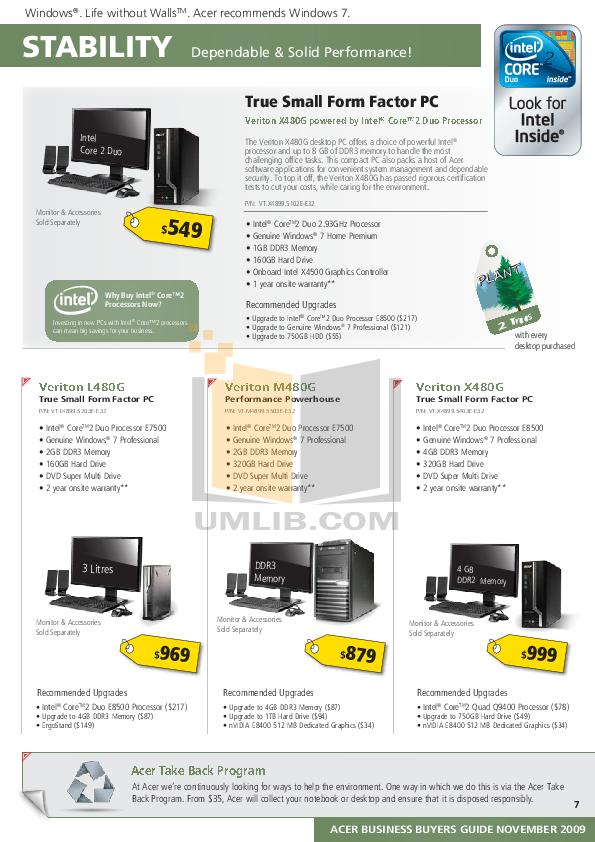 Acer Desktop Veriton 5600V pdf page preview