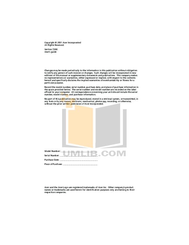 Acer Desktop Veriton 5600V pdf page preview