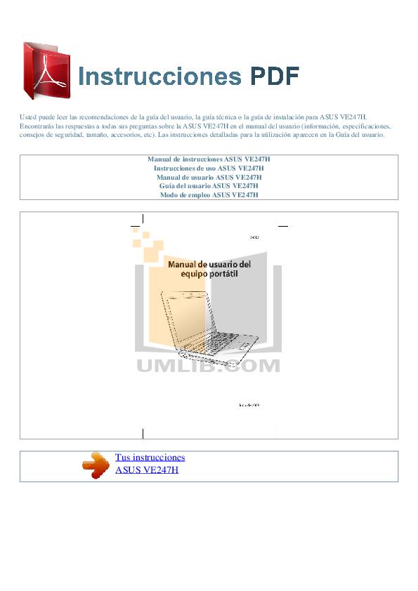 pdf for Asus Monitor VE247H manual