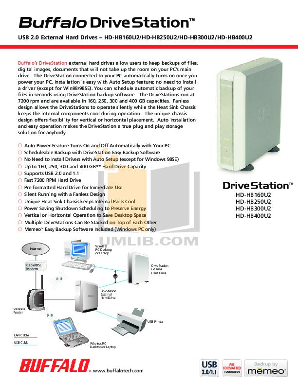 pdf for Buffalo Storage HD-HB400U2 manual