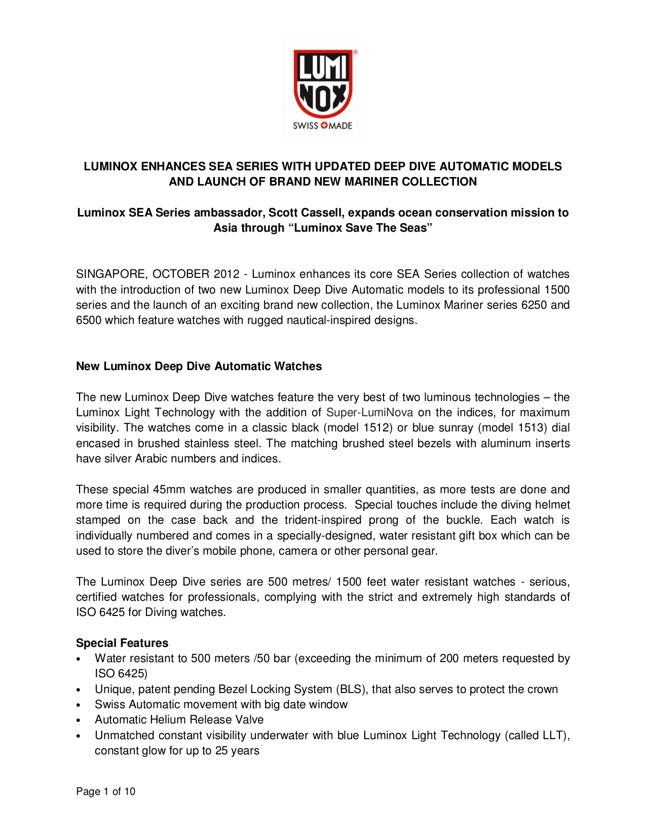 pdf for Luminox Watch Night Ops 303 manual