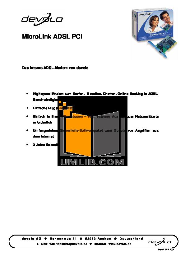 pdf for Devolo Other MicroLink ADSL PCI PCI Card manual