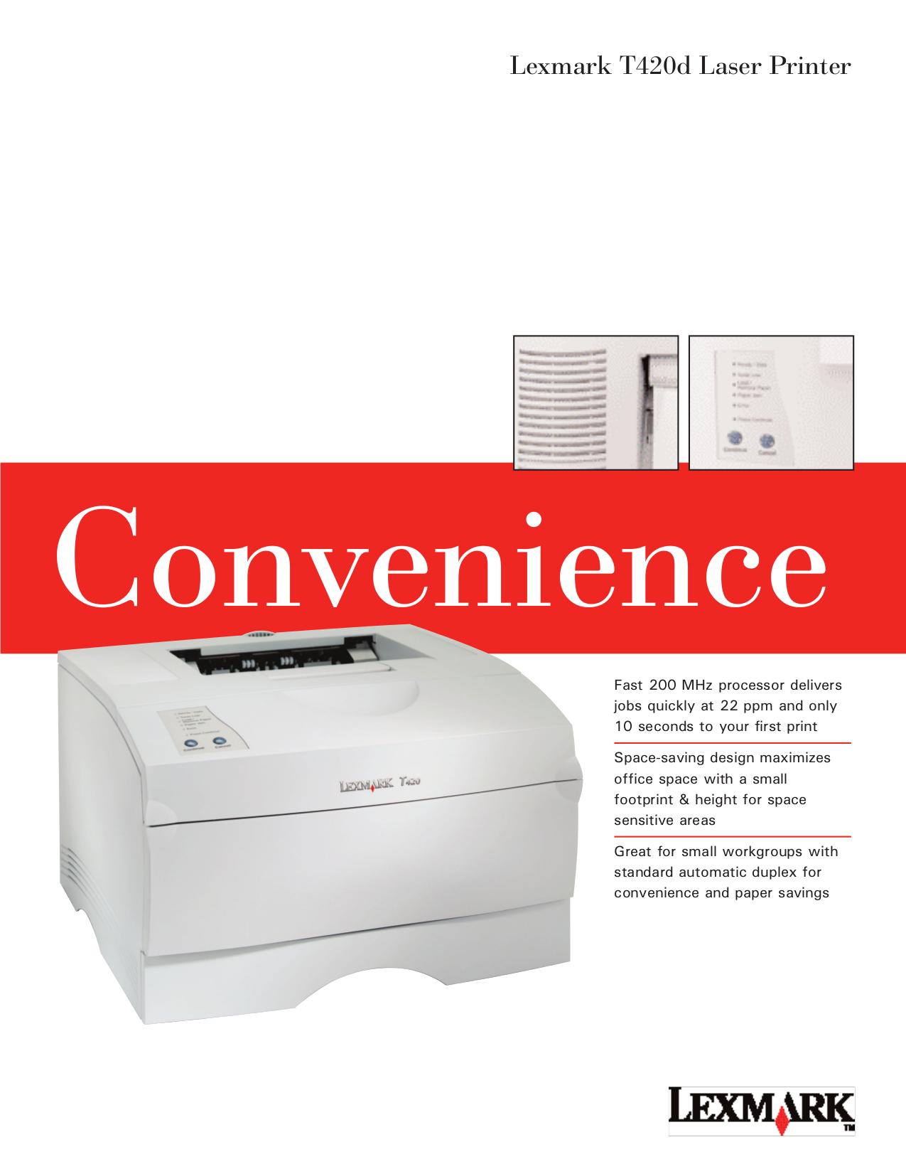 pdf for Lexmark Printer T420d manual