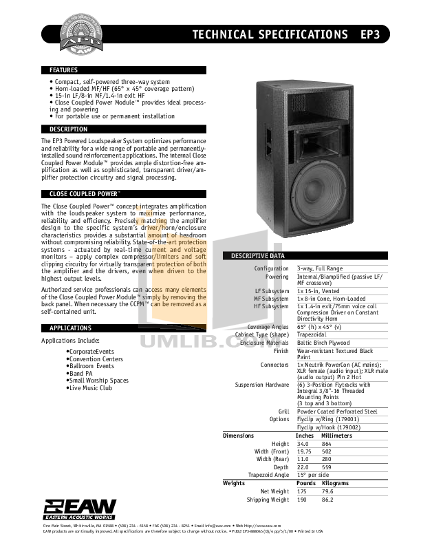 pdf for Eaw Speaker System EP3 manual