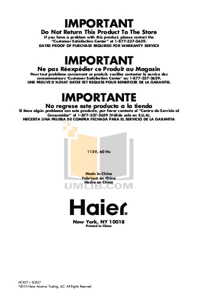 pdf for Haier Refrigerator ECR27 manual