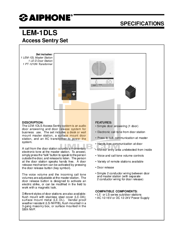 pdf for Aiphone Other LEM-1DLS Intercoms manual