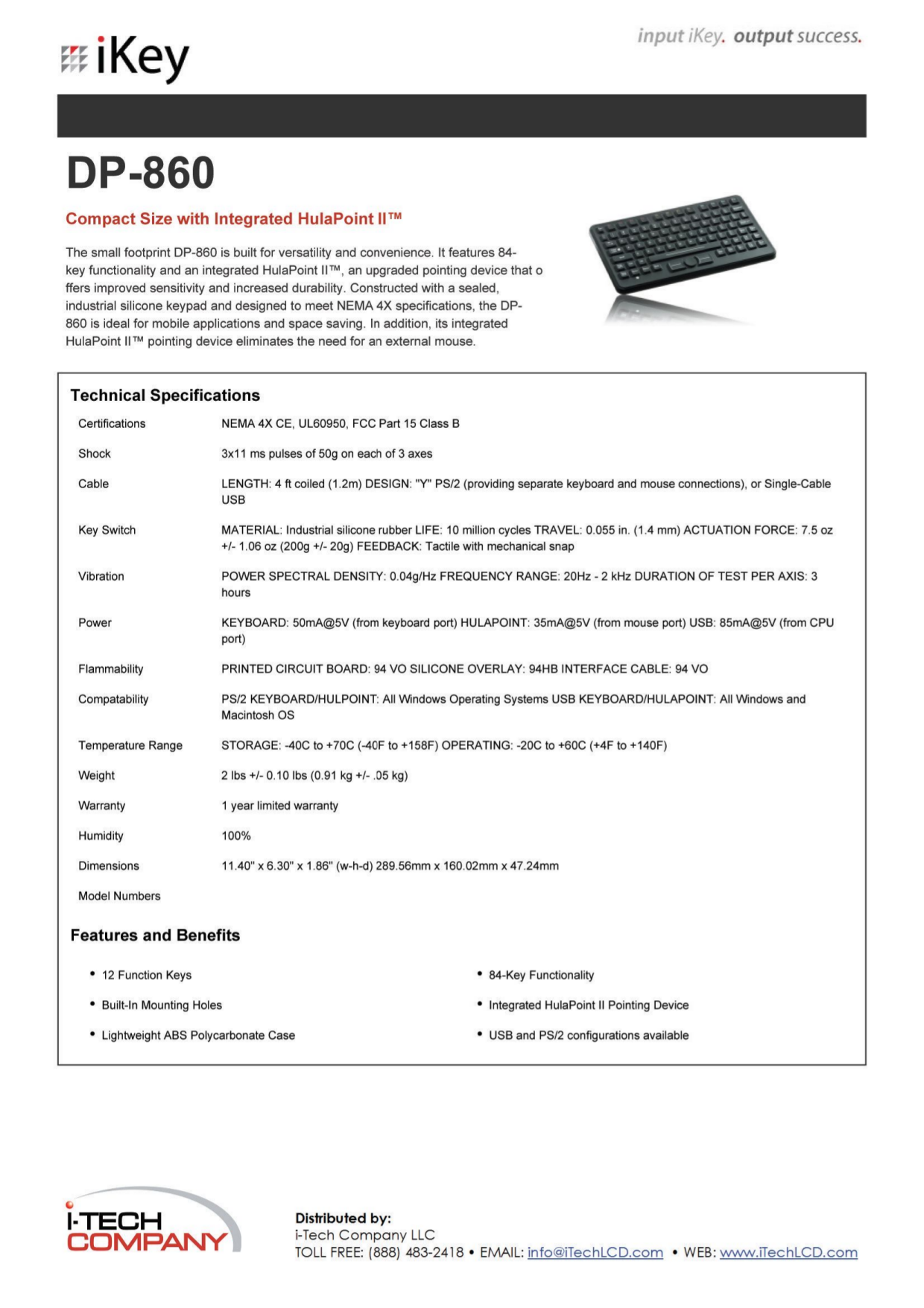 pdf for iKey Keyboard DP-860-IS manual