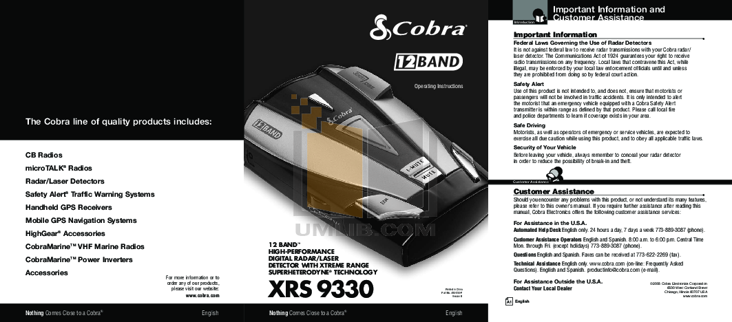 Esd9851 radar detector user manual users manual cobra electronics.