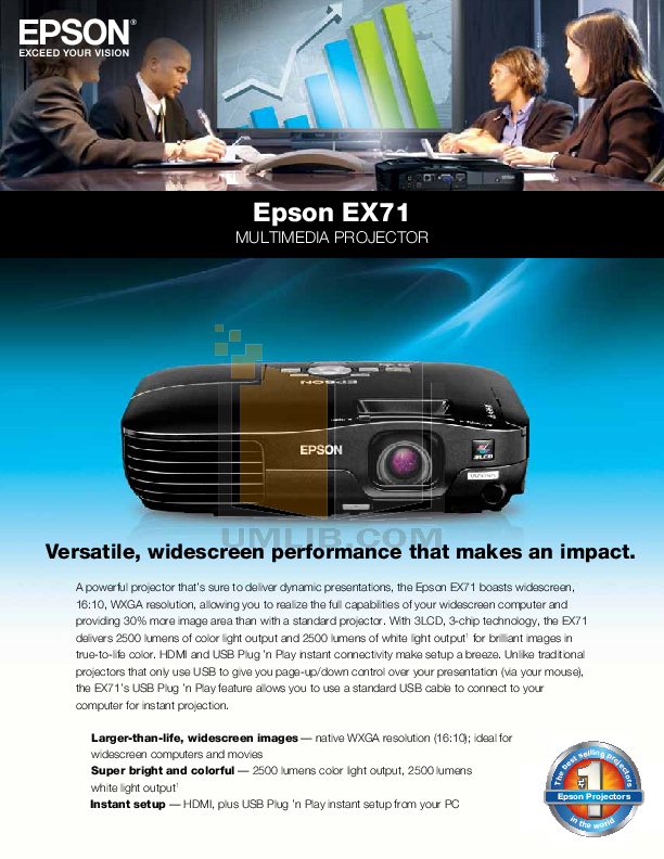 pdf for Epson Projector EX71 manual