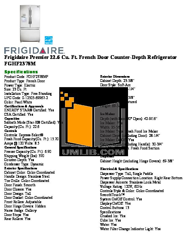pdf for Frigidaire Refrigerator Gallery FGHF2378M manual