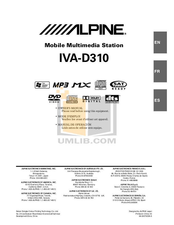 pdf for Alpine Car Video IVA-D310 manual