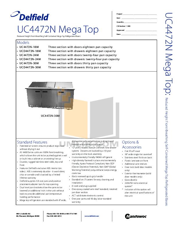 pdf for Delfield Refrigerator UCD4472N-24M manual