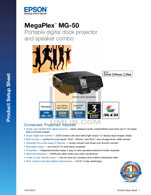 pdf for Epson Projector Megaplex MG-50 manual