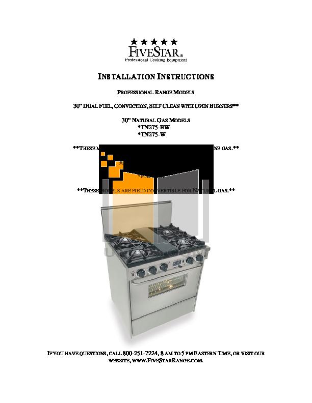 pdf for FiveStar Range TTN275-BSW manual