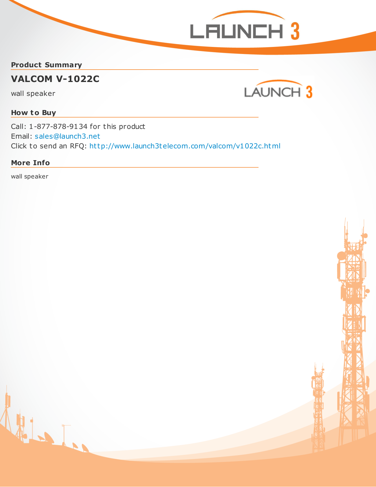 pdf for Valcom Speaker V1022C manual