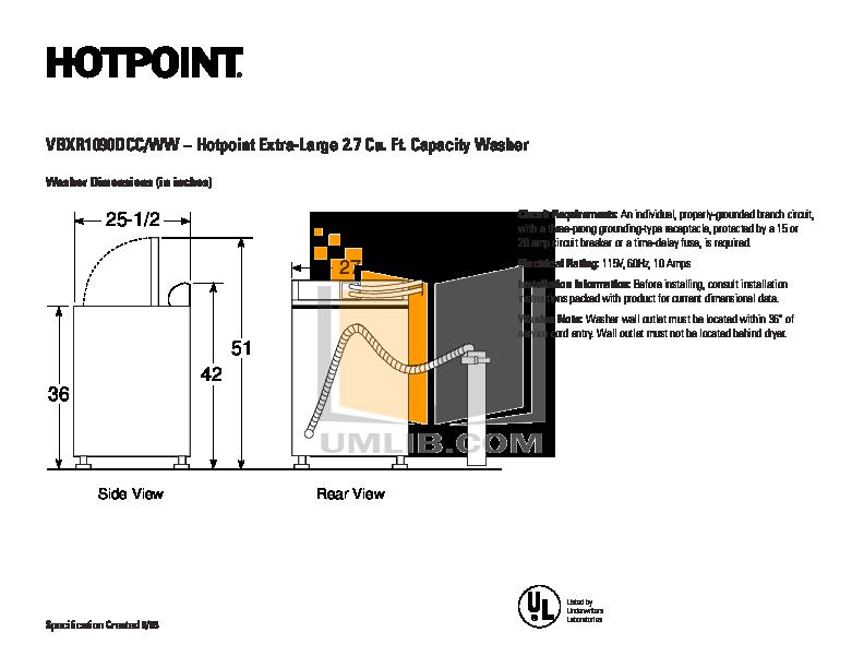 pdf for Hotpoint Washer VBXR1090DWW manual